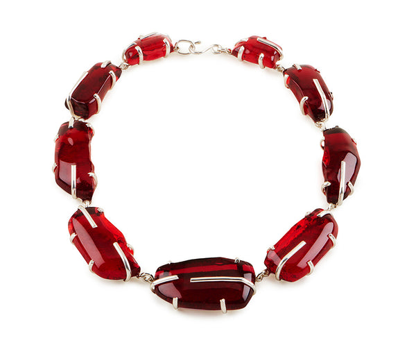 Ruby Red Glass Chunk Necklace