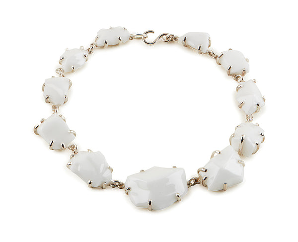 White Glass Chunk Necklace