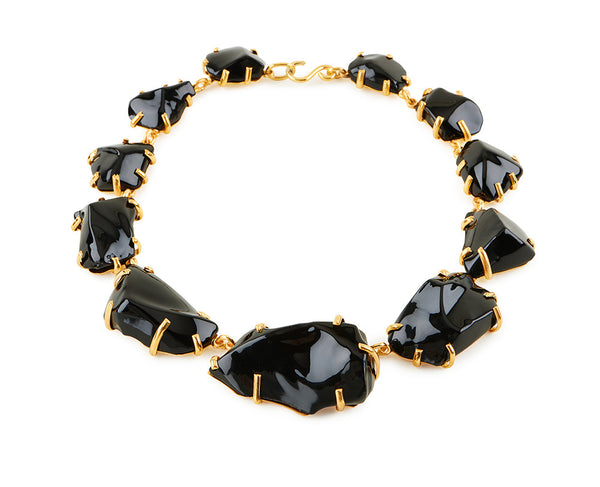 Black Glass Chunk Necklace