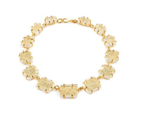 View Clear Thin Glass Chunk Necklace, set in Vermeil or Silver