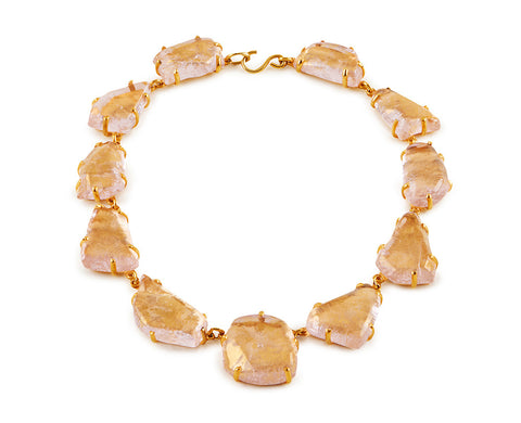 Pink Glass Chunk Necklace, Gold Leaf