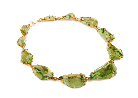 Peridot Glass Glass Chunk Necklace