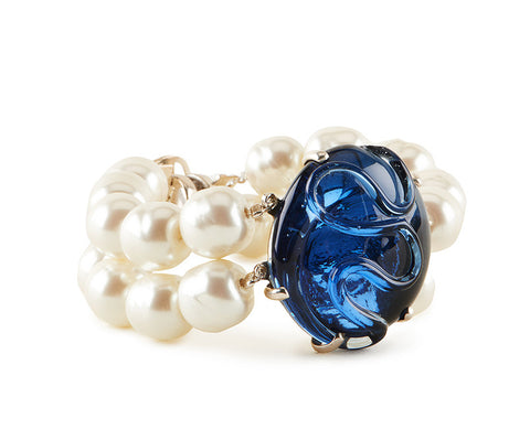 Royal Blue Glass Bracelet with Glass Pearls.