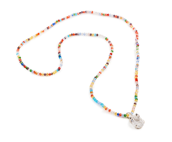 Opera Length beaded necklace with Glass Pendant.
