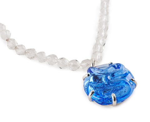 Opera Length beaded necklace with Blue Glass Pendant.