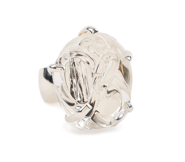 Glass Cocktail Ring, set in Silver and in vermeil