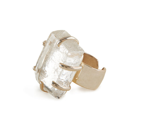 Clear Glass Chunk Ring