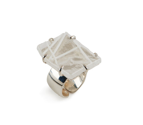 Clear Glass Ring with White Line Design