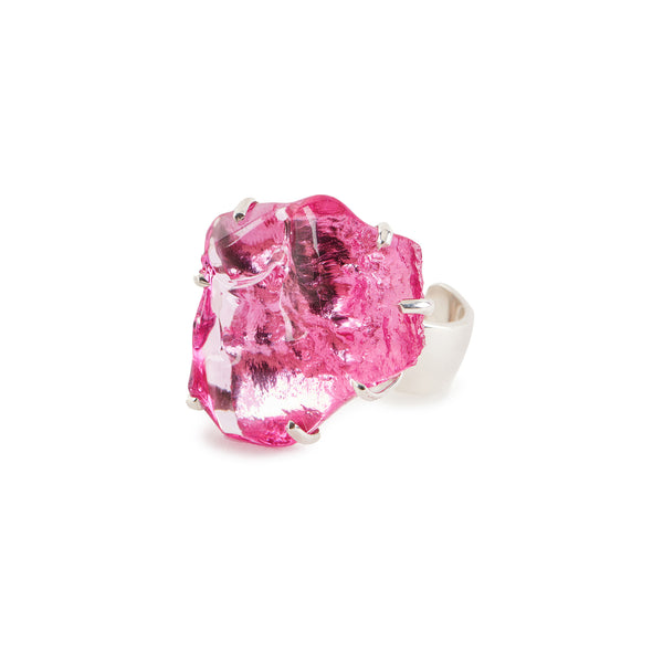 Hot Pink Ruby Glass Chunk Ring