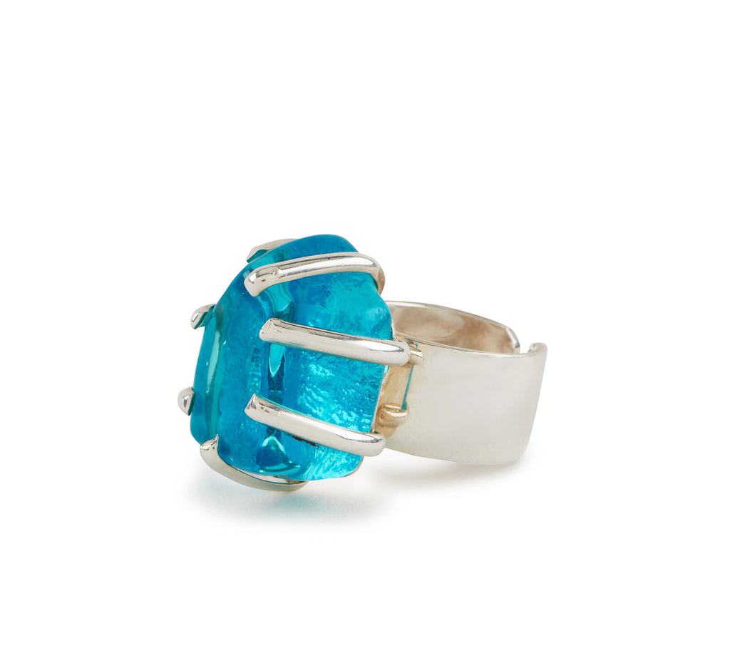 Teal Glass Chunk Ring
