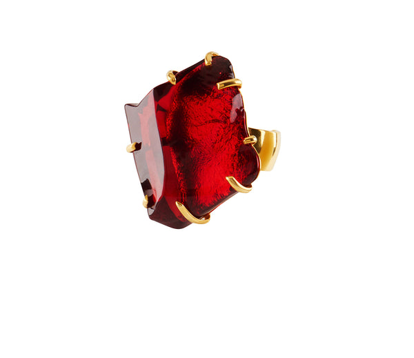 Ruby Red Glass Chunk Ring