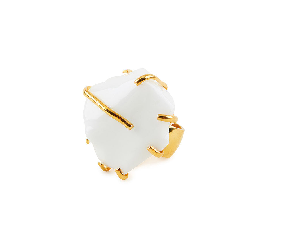 White Glass Chunk Ring