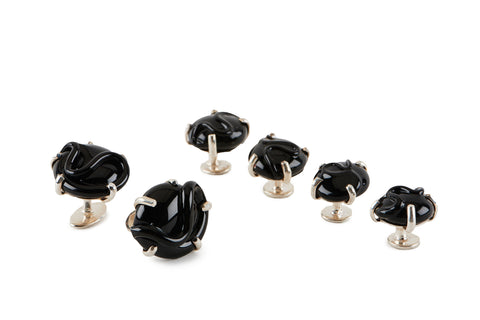 View Black Glass Cufflinks and Studs