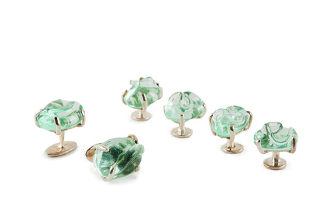 Cola Green Glass Cufflinks and Studs