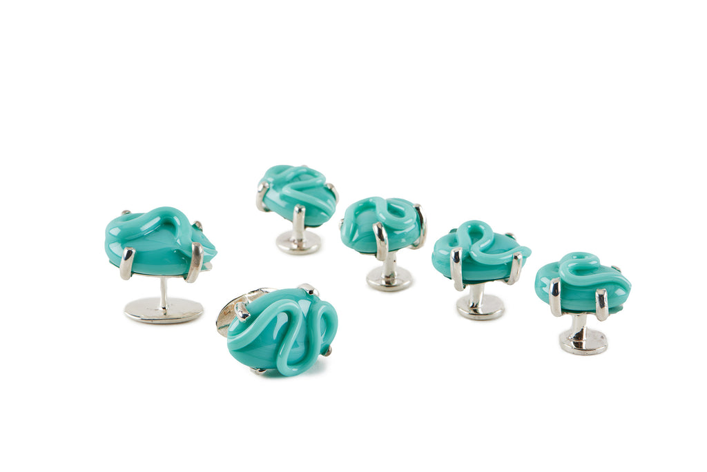 Turquoise Glass Cufflinks and Studs