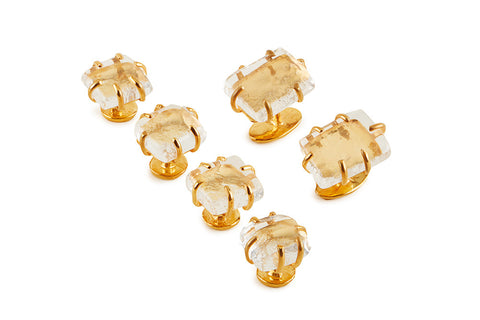 View Clear Glass Cufflinks and Studs