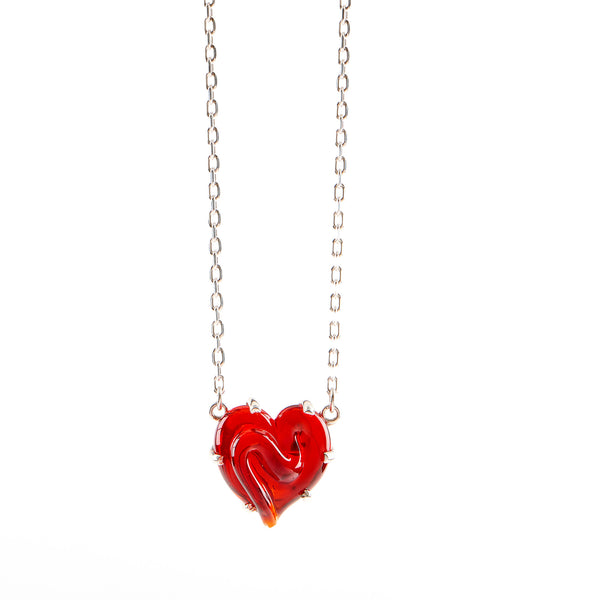 Red Glass Heart on Silver Chain