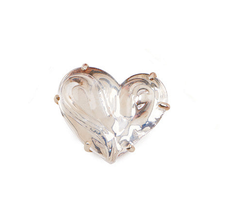 Heart Brooch set in Silver