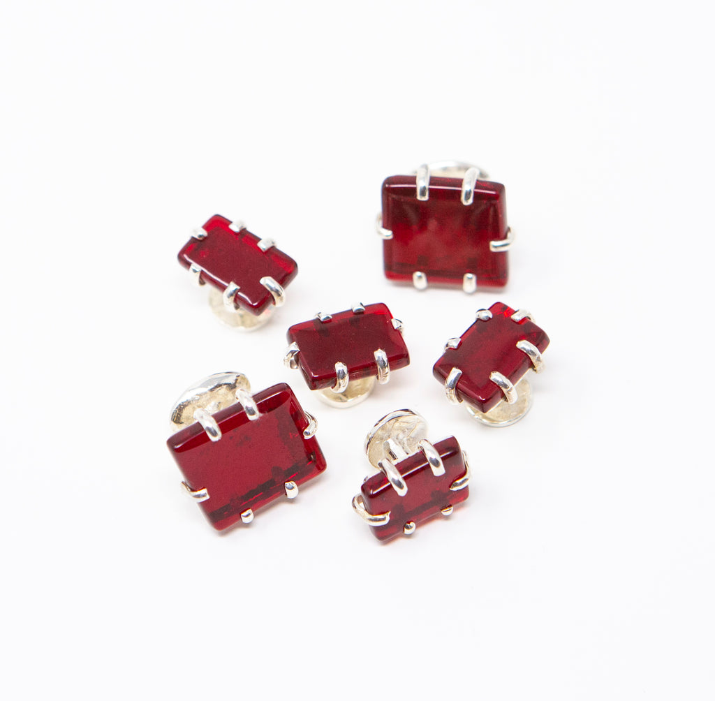 Red Glass Cuff Links and Studs