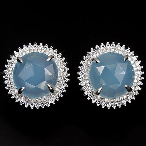 19e2d7ee0 Dyed Blue Chalcedony & White CZ Round Earrings – Madringal