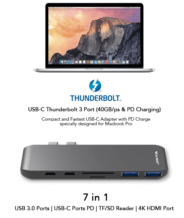 JINYA USB-C 7-in-1 Dual Thunderbolt 3 Adapter