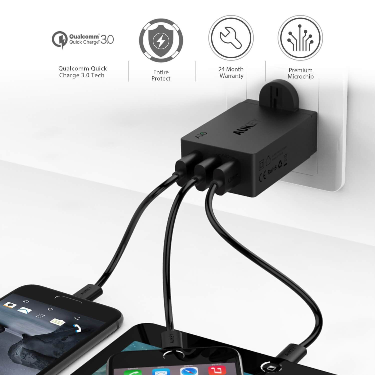 AUKEY® 3-Port 42W USB Wall Charger with Quick Charge 3.0 - Add-on™ Store