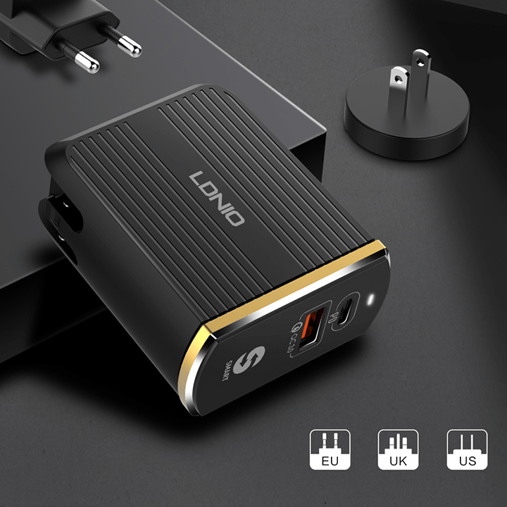 LDNIO 36W USB-C PD with USB QC 3.0 Charger - Add-on™ Store