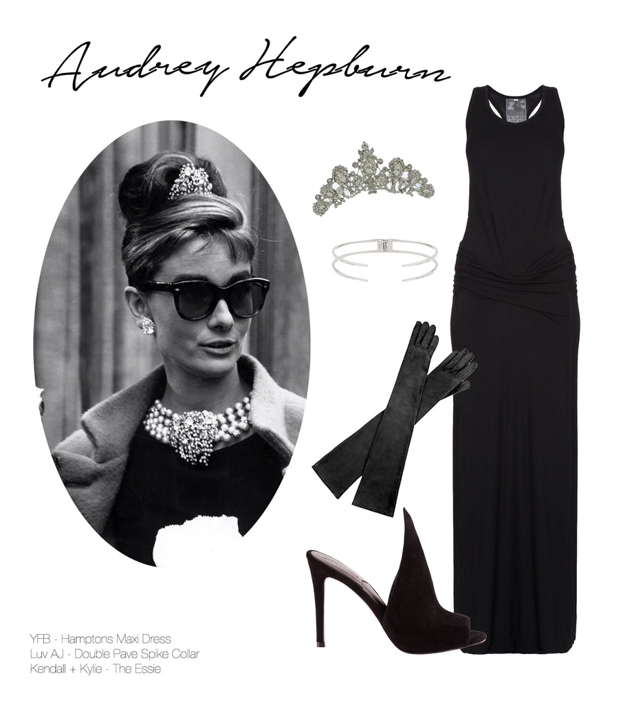 Image of Audrey Hepburn and various products that fit her style.