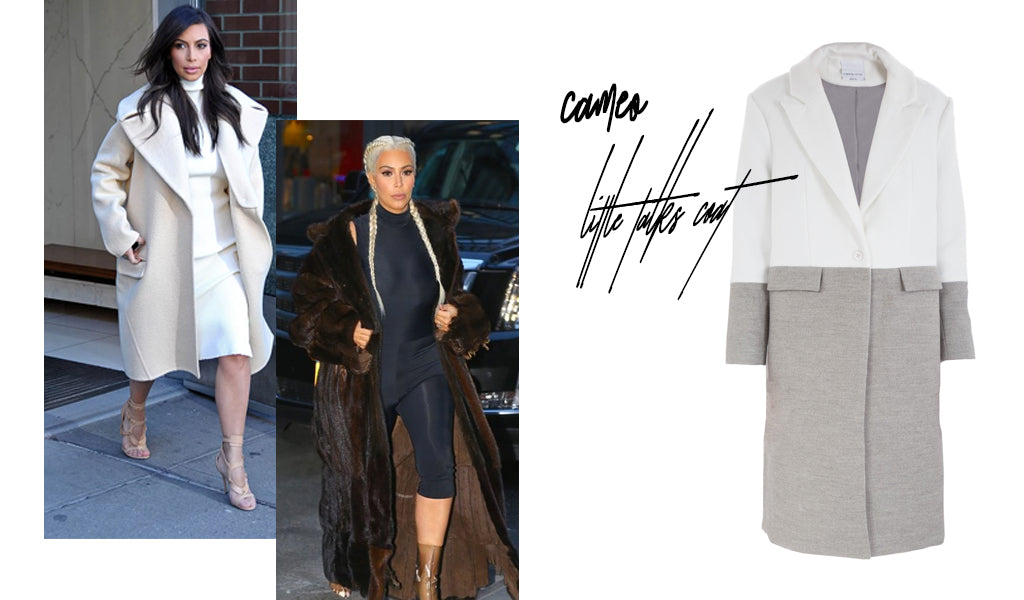 Side by side pictures of Kim Kardashian-West wearing a coat.