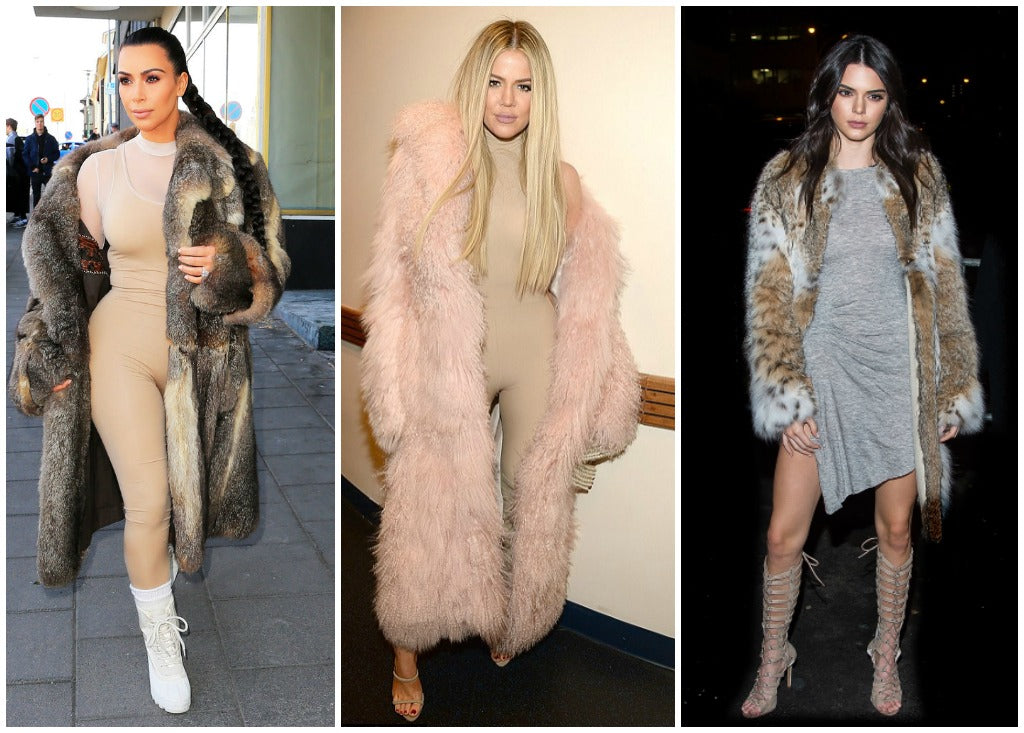 Images of Kim Kardashian-West, Khloe Kardashian and Kendall Jenner wearing fur coats.