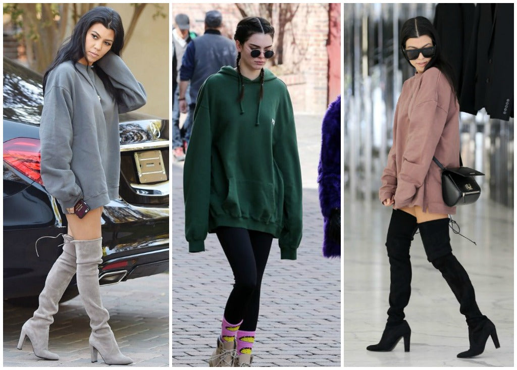 Images of Kourtney Kardashian and Kendall Jenner wearing street wear hoodies.