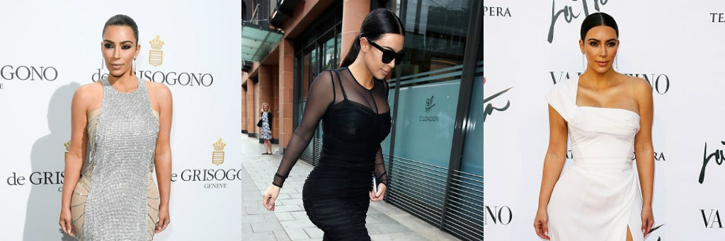 Three images of Kim Kardashian-West in her classic sleek ponytail look.