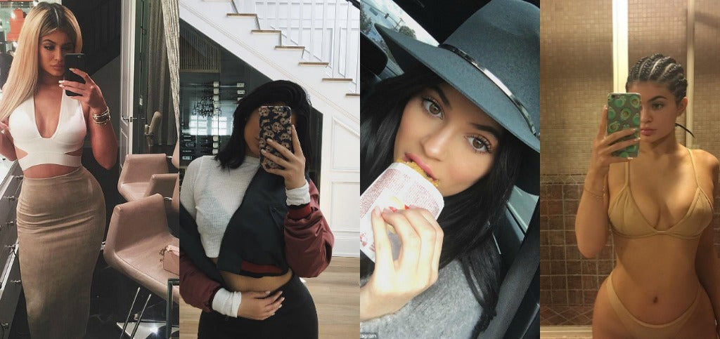 Four selfies of Kylie Jenner.