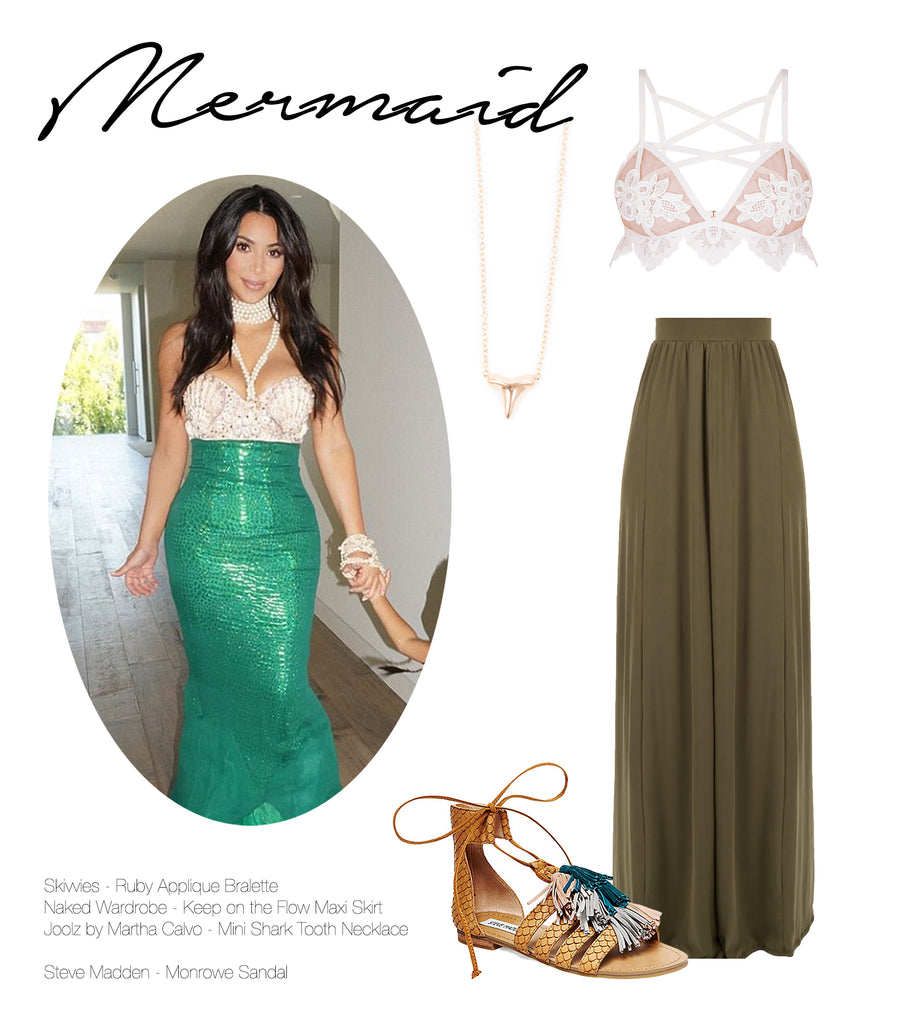 Image of Kim Kardashian in a mermaid costume along with various picks that can be found at Shopdashonline.com.