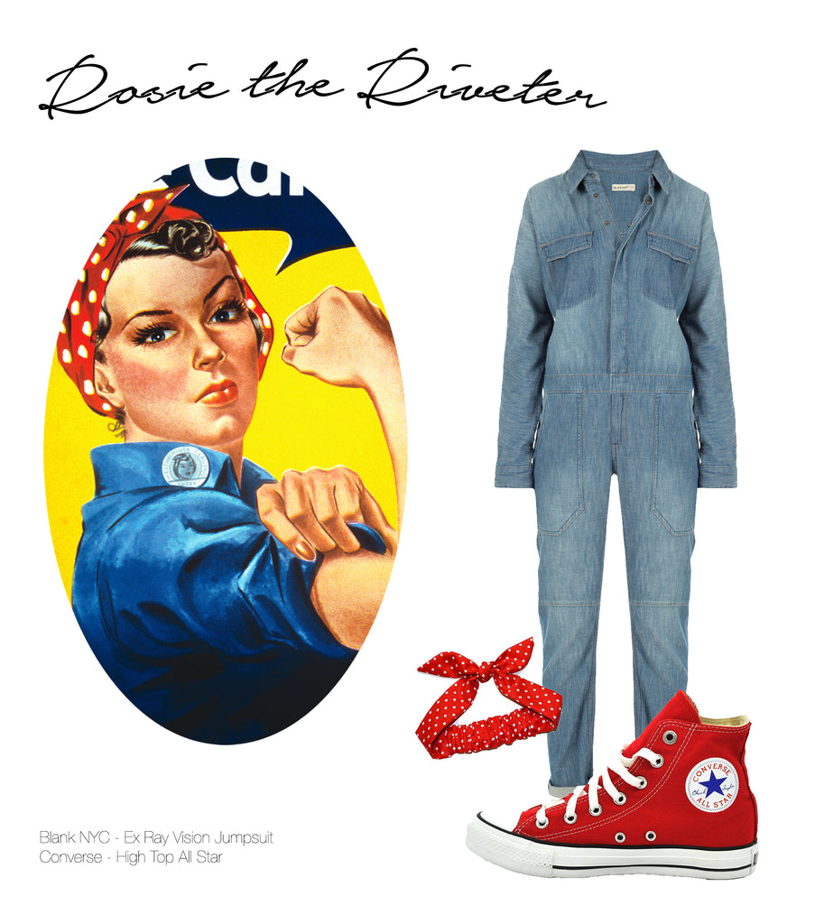 Image of Rosie the Riveter and various products that fit her style that included a denim jumpsuit that can be found at Shopdashonline.com.
