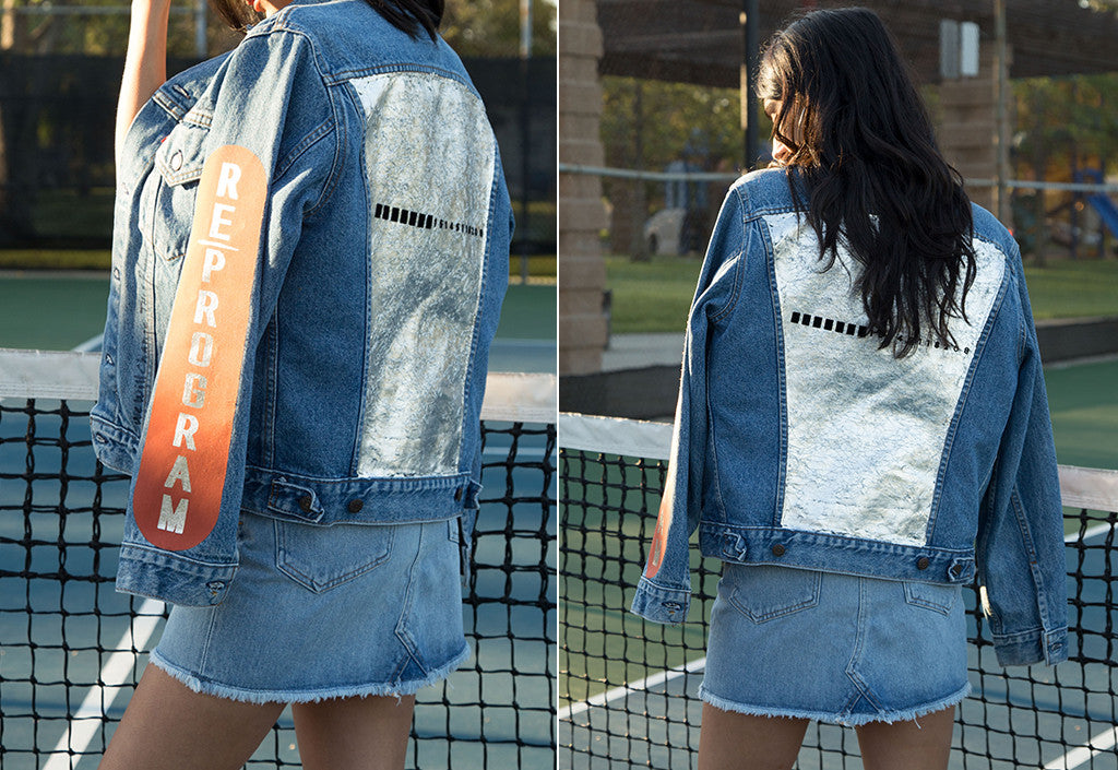 Side by side image of model wearing Visitor on Earth jean jacket on tennis court.
