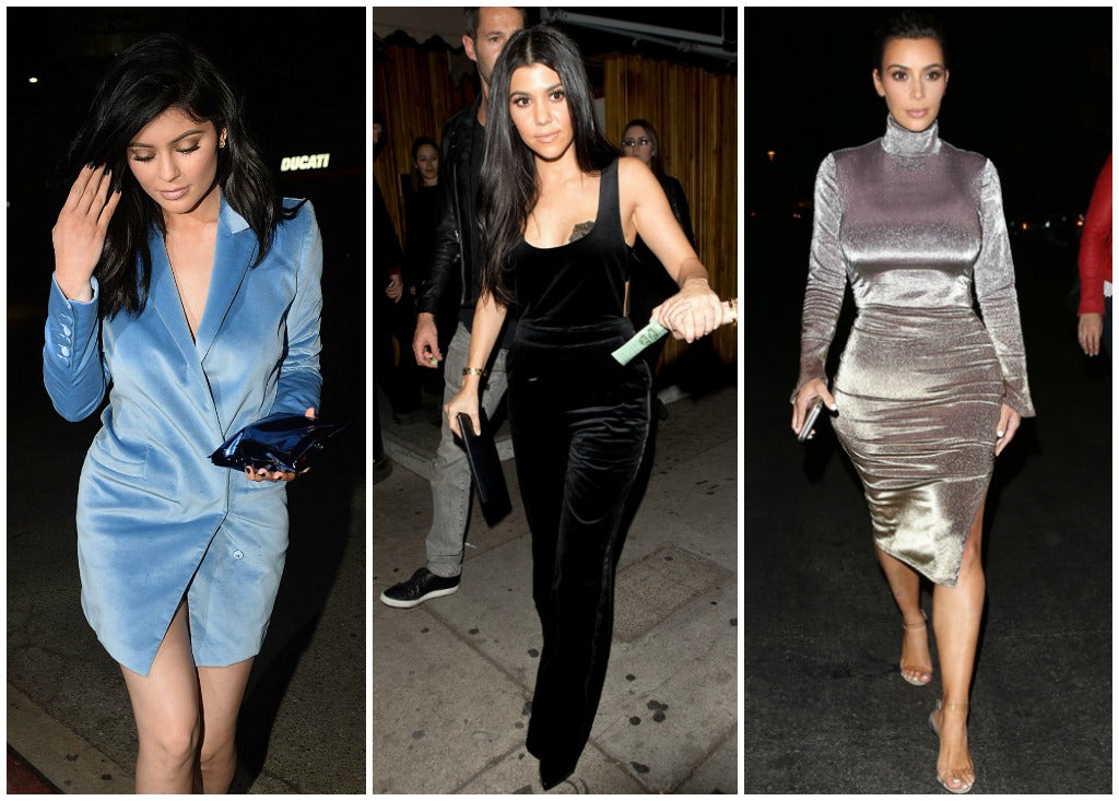 Images of Kylie Jenner, Kourtney Kardashian and Kim Kardashian-West wearing velvet.