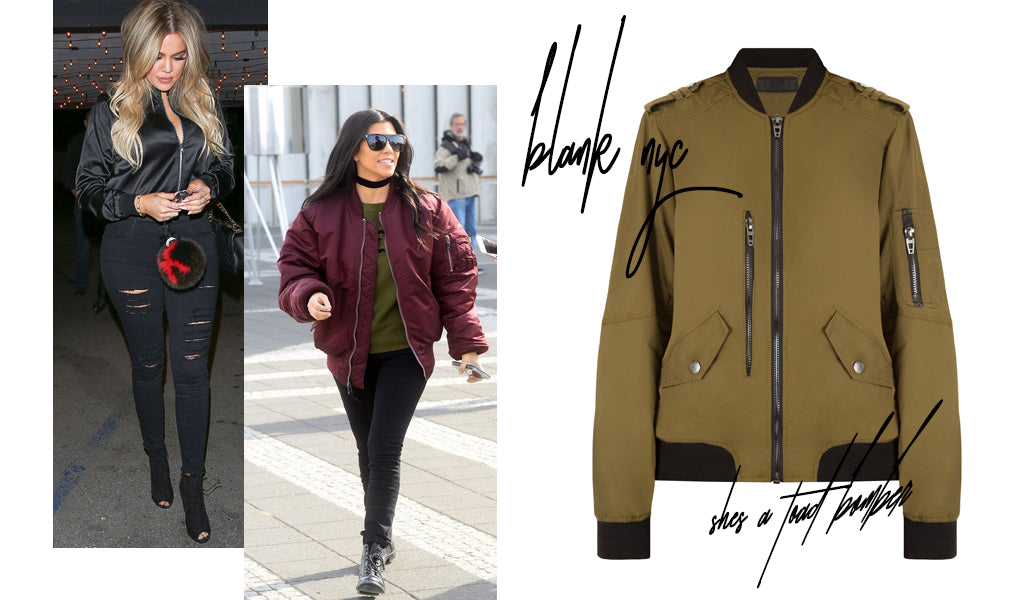Side by side pictures of Khloe Kardashian and Kim Kardashian-West wearing bomber jackets next to a product image of a bomber jacket available at Shopdashonline.com