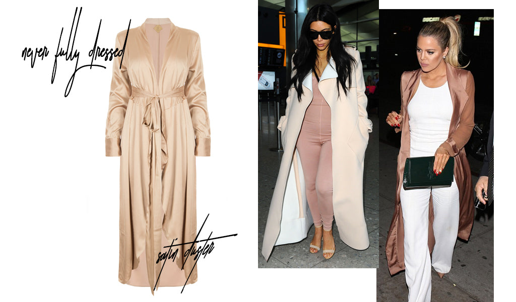 Side by side pictures of Khloe Kardashian and Kim Kardashian-West wearing dusters next to a product image of a duster available at Shopdashonline.com