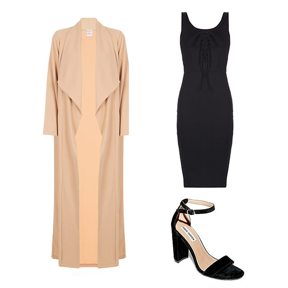 Product image of a duster, dress and heels all found at Shopdashonline.com