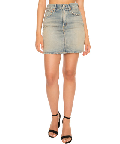Kat High Rise Denim Pencil Mini Skirt