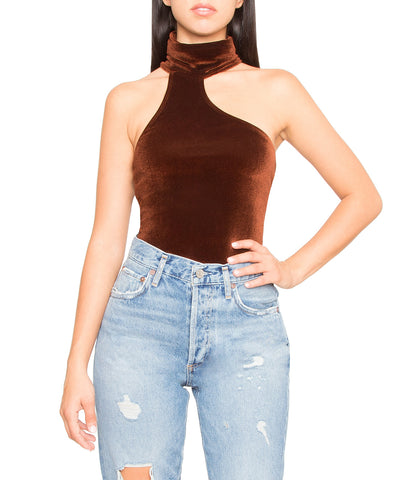 Carmine High Neck Velvet Thong Bodysuit