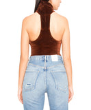 Alix NYC Carmine High Neck Velvet Thong Bodysuit