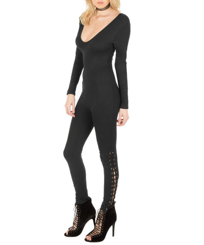 Long Sleeve Lace Hem Jumpsuit