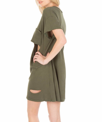Washed Burnout Tee Dress