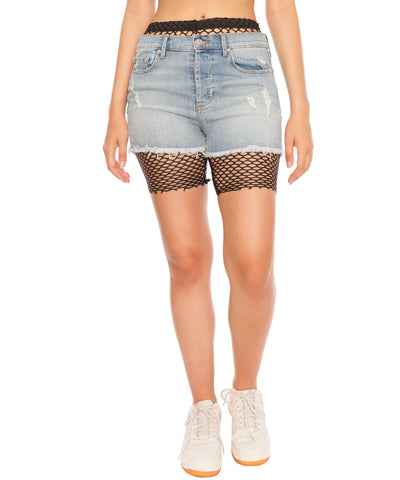 Fishnet Biker Shorts