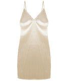 Nude Pleated Lurex Cami Dress