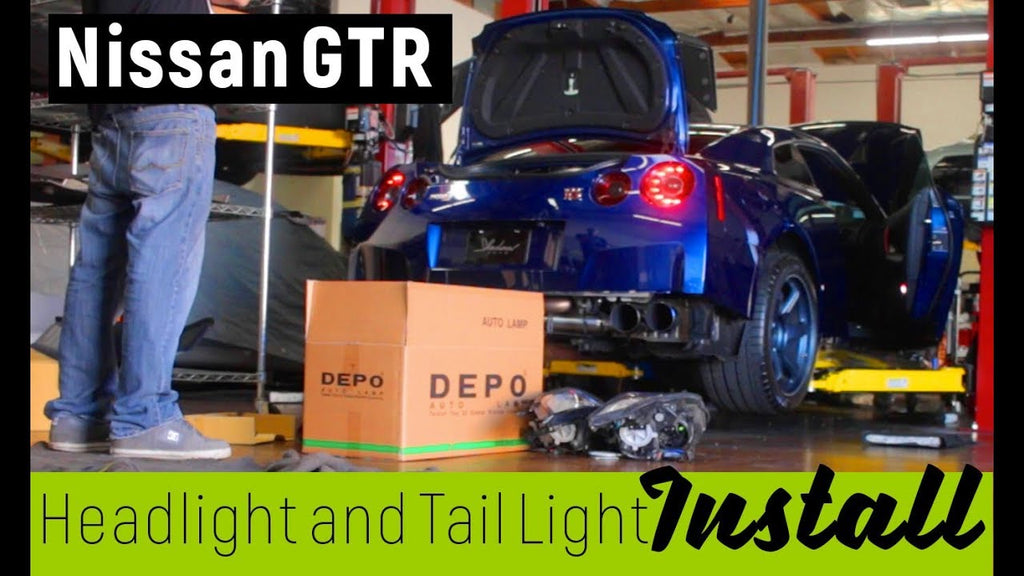 Sequential LED Custom Tail lights, and DEPO Headlight install on Nissan GTR