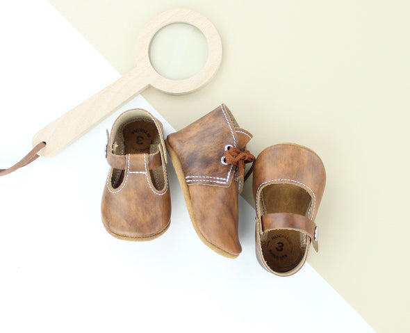 the original soft-soled t-strap: maple (RTS)