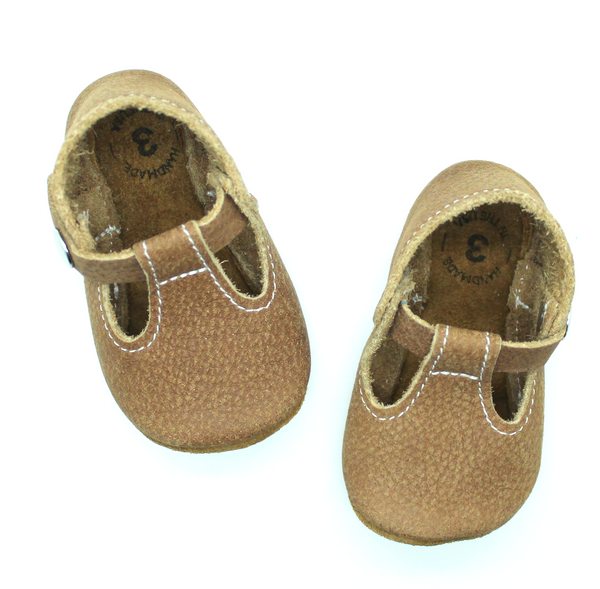 the original soft-soled t-strap: cocoa (RTS)